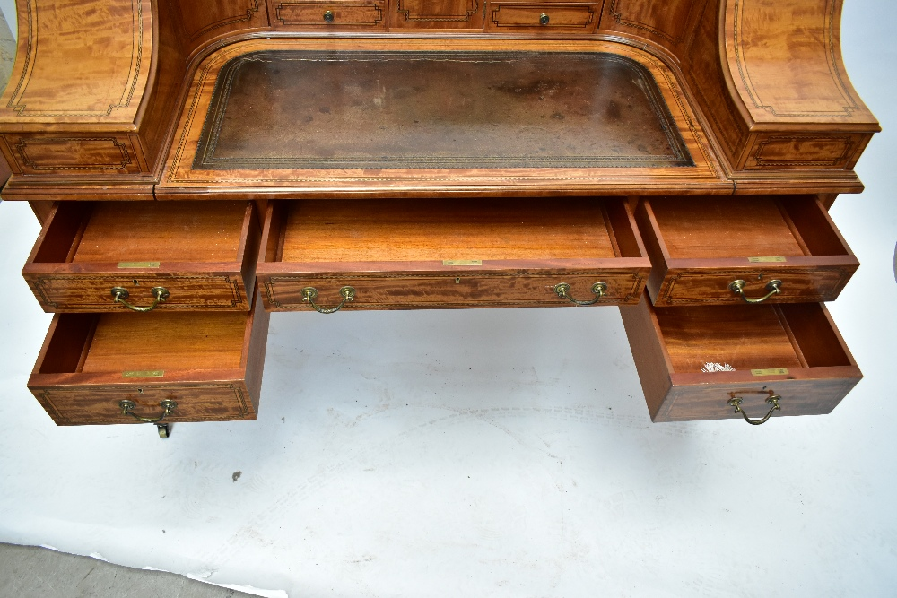 MAPLE & CO; a c.1900 satinwood and inlaid Carlton House desk by Raphael Lalli, the raised back - Image 7 of 16