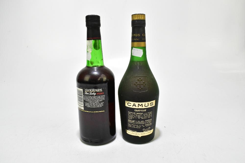 COGNAC; a single bottle of Camus Grand V.S.O.P., also a single bottle of Cockburn's Fine Ruby - Image 2 of 2