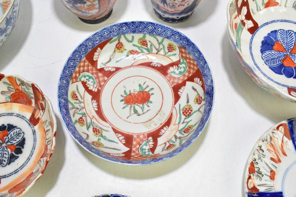 A collection of 19thcentury and later Japanese Imari porcelain and a bowl of circular form with - Image 8 of 14