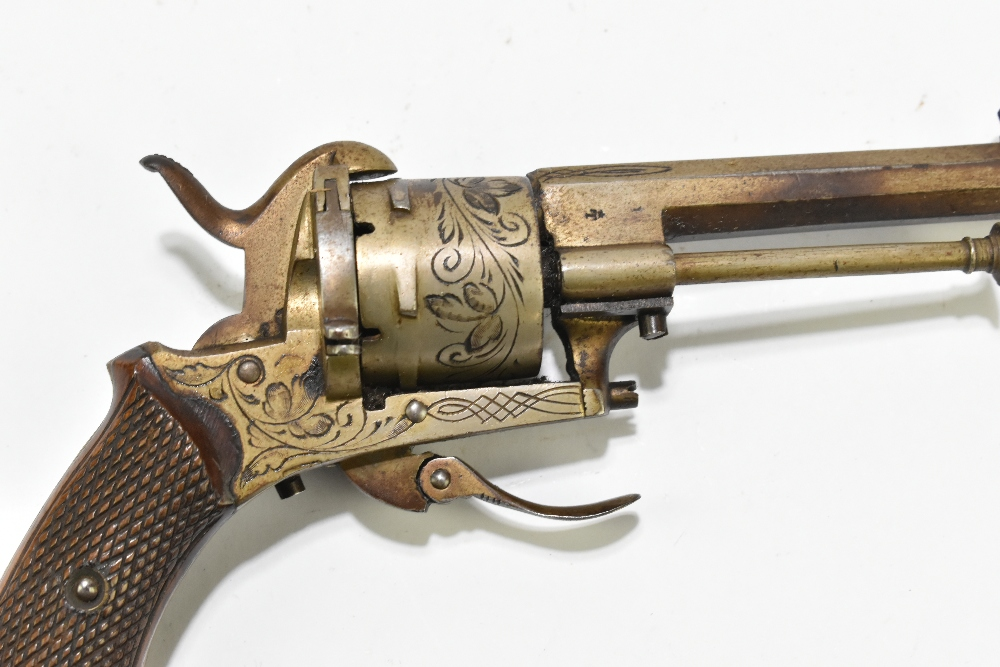 A Belgian pinfire double action revolver with folding trigger, simple engraving and checkered walnut - Image 7 of 8
