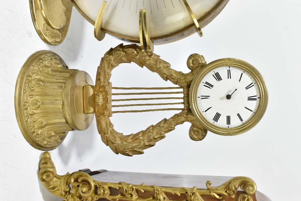 An Edwardian inlaid mahogany lancet topped mantel clock, the silvered dial with Arabic numerals, - Image 4 of 6