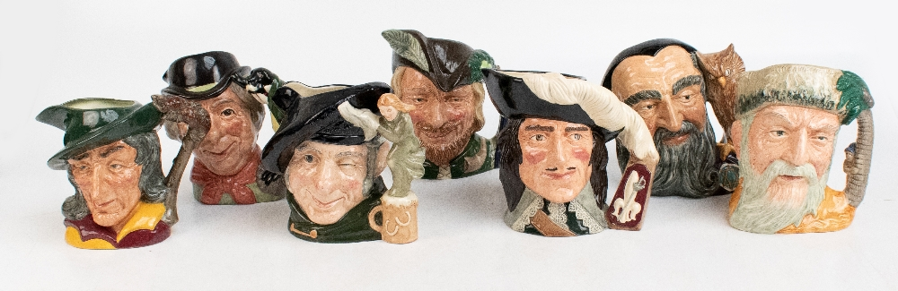 ROYAL DOULTON; seven characters from literature themed character jugs, comprising D6529 'Merlin',