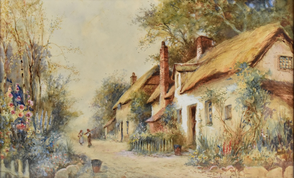 JOSEPH HUGHES CLAYTON (active 1891-1929); watercolour, figures beside cottages, Anglesey, signed