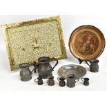 A mixed lot of assorted metalware including an Indian brass rectangular tray, Persian circular tray,