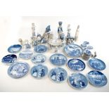 A group of ceramic figures with Lladro examples including drummer boy (af) and a Nao recling girl,