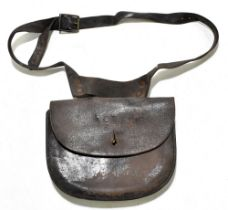 A leather military dispatch pouch, stamped 'R C T 8', width 24cm. Provenance: The Captain Allan