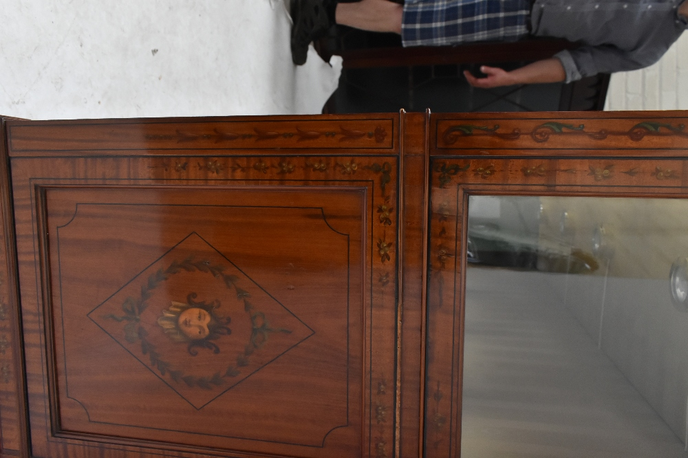 A fine late Victorian satinwood painted display cabinet with moulded cornice, serpentine side glazed - Image 8 of 8