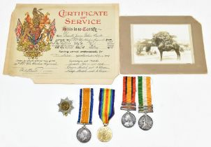 A Boer War Queens & Kings South Africa medal duo and WWI War and Victory duo awarded to Private