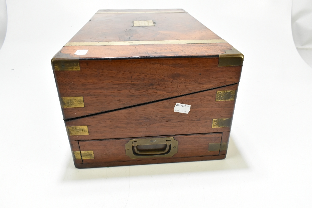 A 19th century walnut, burr walnut and brass bound writing slope, the cartouche to lid inscribed 'To - Image 4 of 7