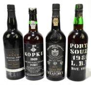 PORT; four bottles comprising Delaforce 1977, Souza 1981 L.B.V. (bottled 1987), Tanners Crusted