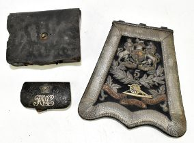 A good and rare silver bullion and leather dispatches pouch for the Lancashire Artillery Volunteers,