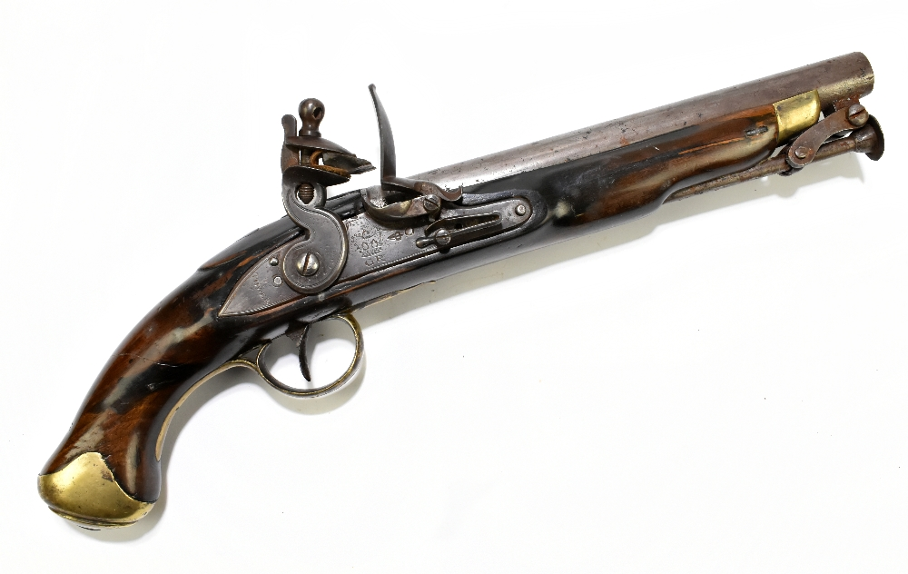 """A 19th century flintlock pistol, with 8"""" barrel stamped to the top 'D+XVI', further stamped with"""
