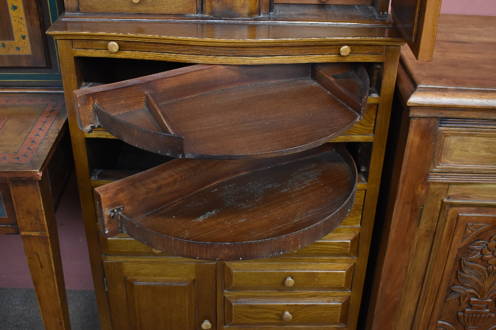 A modern Egyptian oak jewellery cabinet, with a mirrored cupboard door and seven small drawers - Image 3 of 4