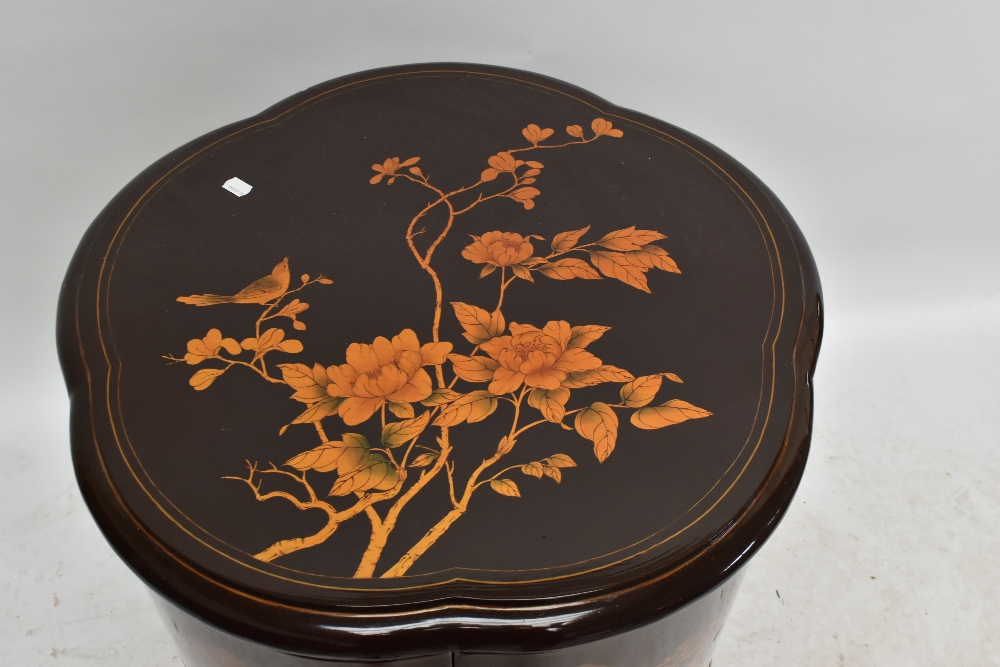 A modern Chinese lacquered drinks cabinet of shaped circular form, with chinoiserie decoration, - Image 2 of 4