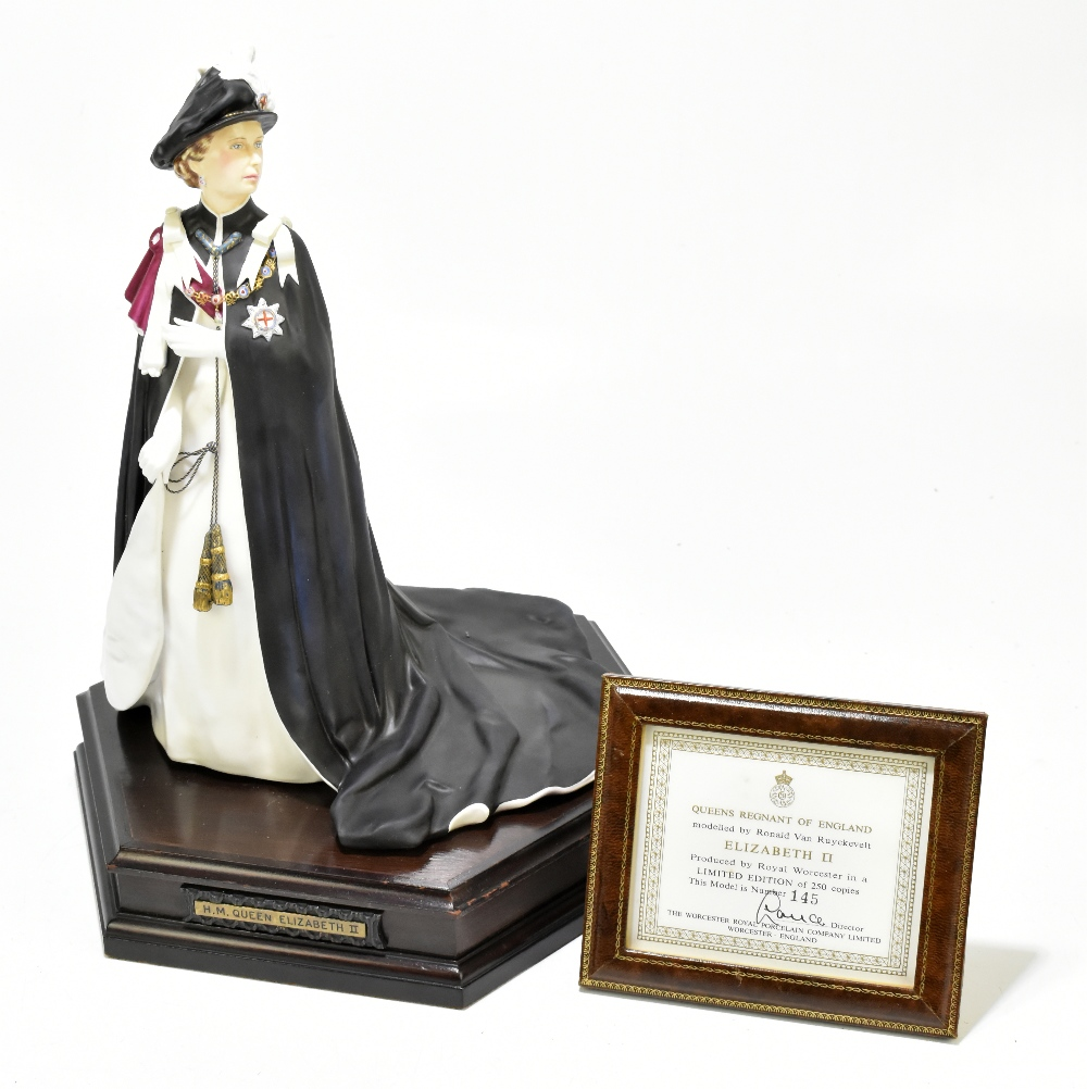 ROYAL WORCESTER; a limited edition figure, 'H.M Queen Elizabeth II', 145/250, modelled by Ronald Van