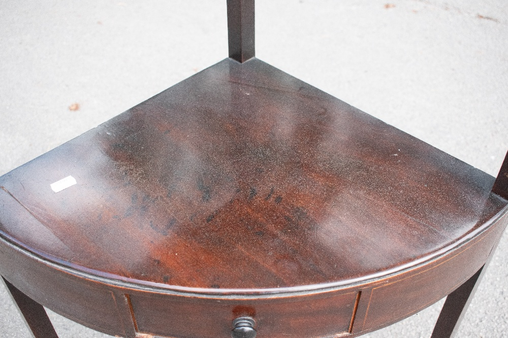 An Edwardian inlaid mahogany two tier occasional table with lyre shaped ends on tapered square legs, - Image 3 of 6