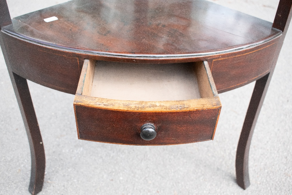 An Edwardian inlaid mahogany two tier occasional table with lyre shaped ends on tapered square legs, - Image 4 of 6