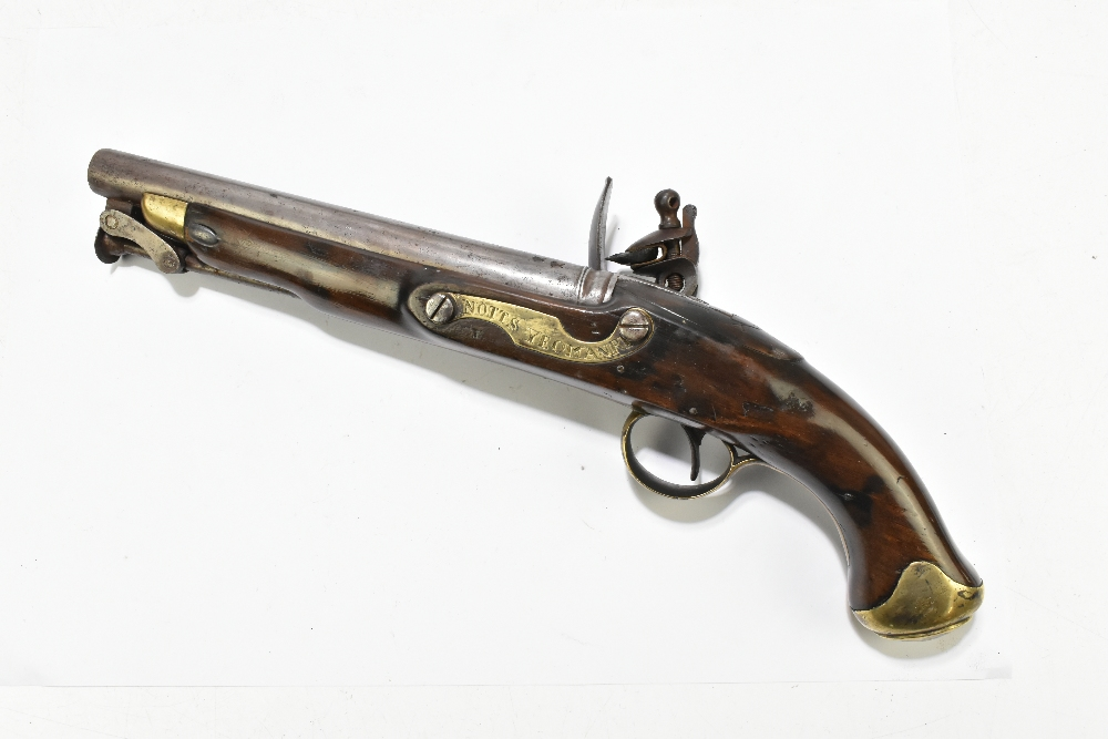 """A 19th century flintlock pistol, with 8"""" barrel stamped to the top 'D+XVI', further stamped with - Image 7 of 11"""