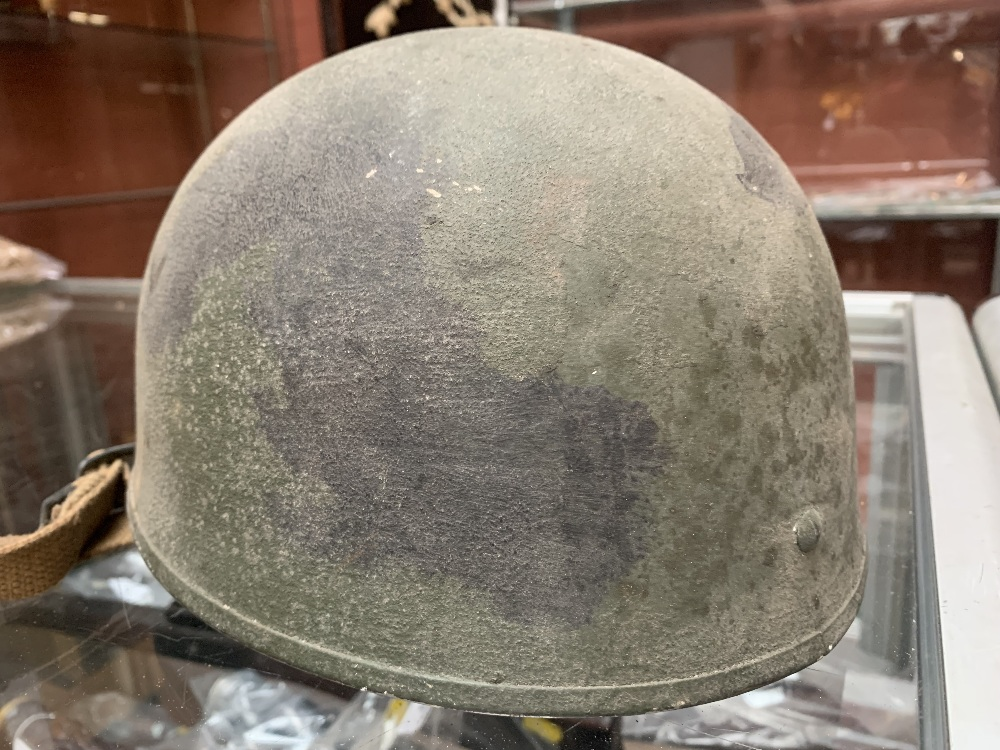Six WWII and later helmets including a Brodie, American, French, further example labelled 'R' with - Image 7 of 13