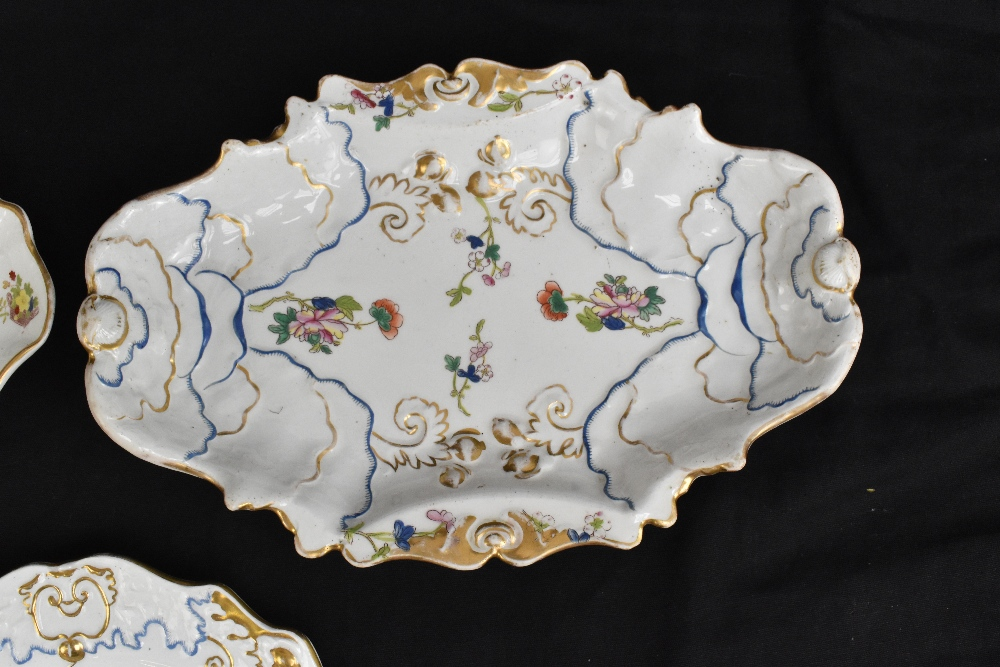 A pair of 19th century Ironstone china dessert plates with moulded floral detail throughout and - Image 4 of 8