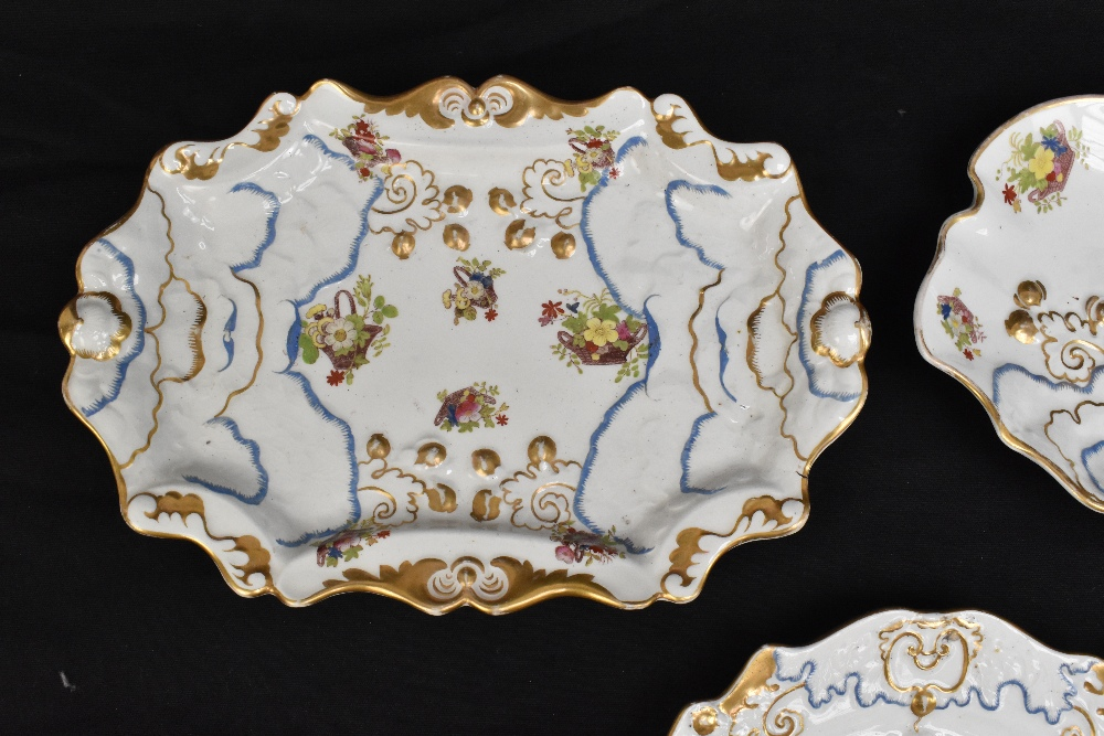 A pair of 19th century Ironstone china dessert plates with moulded floral detail throughout and - Image 2 of 8