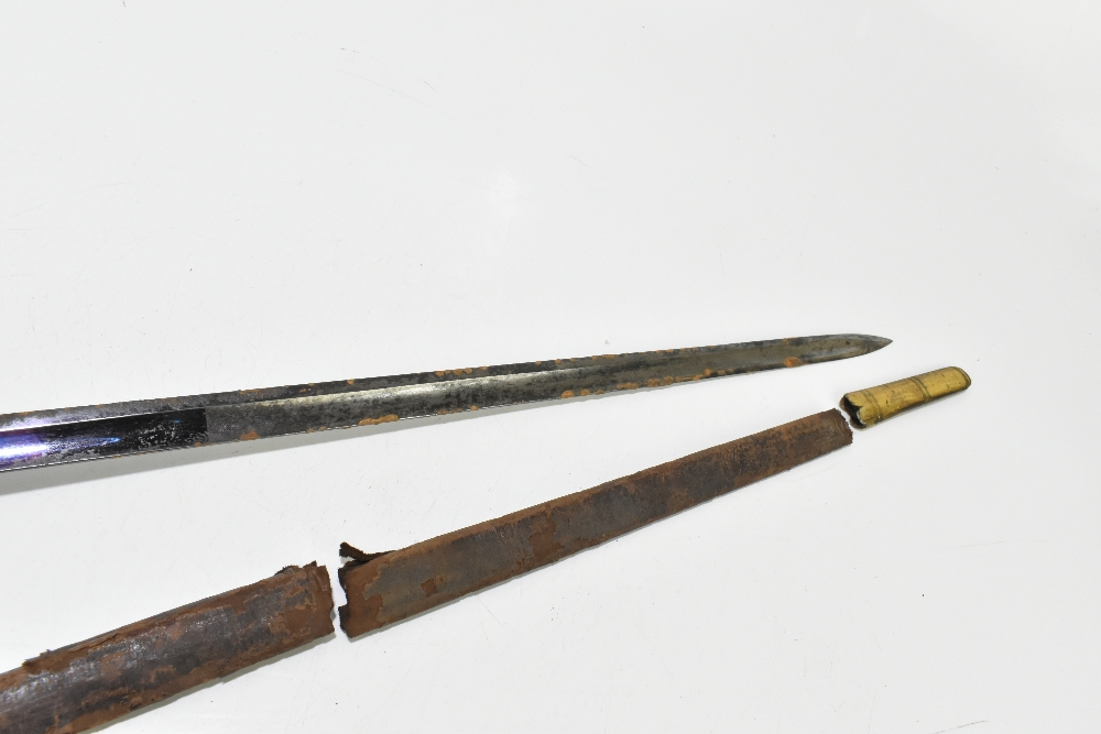 A 19th century Continental court-type sword, the partly blued fullered blade with engraved gilt - Image 7 of 7