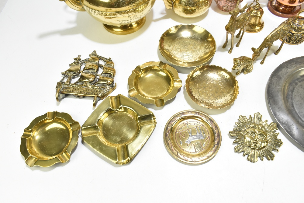 A collection of 19th century and later copper, pewter and other metalwareincluding a copper half - Image 2 of 7