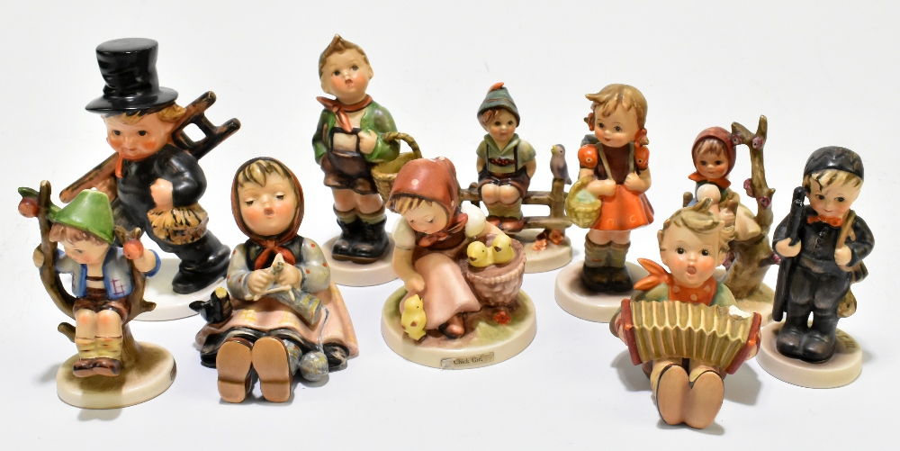 GOEBEL; a collection of ten Hummel figures, to include 'Apple Tree Boy' (10).Additional