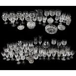 A quantity of assorted cut and pressed glassware to include rummers, assorted drinking glasses,