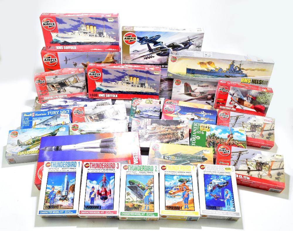 AIRFIX; a group of boxed kits including A50014 Messerschmitt Bf109F-4 Super Marine Spitfire mk Vb,