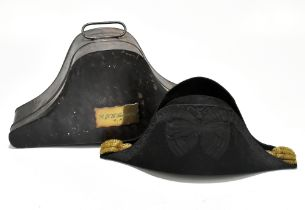 ALFRED SHANNON OF DEVONPORT; a Naval bicorne with gilt bullion work detail, housed in original