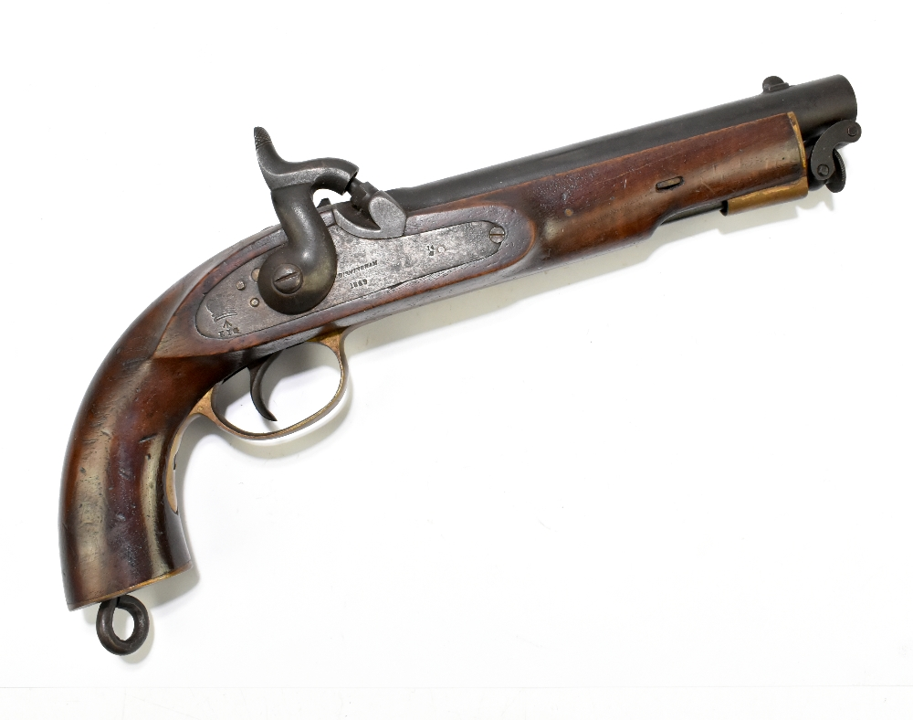 """A 19th century East India Government percussion cap large bore pistol with 8"""" barrel, the lock"""