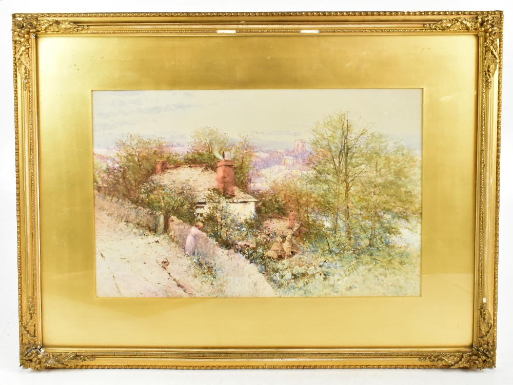THOMAS DINGLE (fl.1879-1889); watercolour, figure on path in front of cottage with church in the