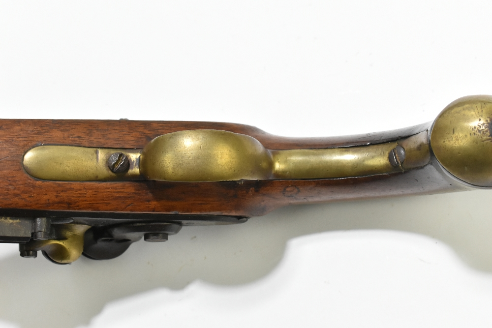 """A 19th century Belgian flintlock pistol, the 9"""" barrelindistinctly signed to the top flat next to a - Image 8 of 11"""