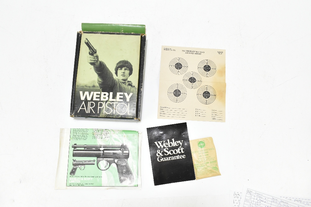 A boxed Webley .177 Junior Mk II air pistol, length 20cm, SN:743. Provenance: The Captain Allan - Image 9 of 9