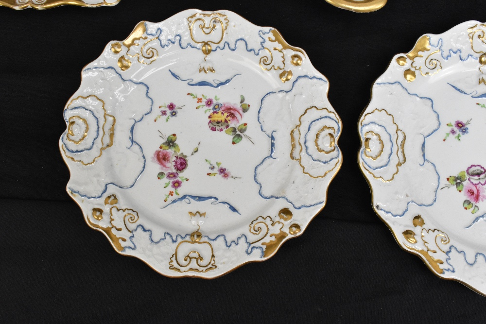 A pair of 19th century Ironstone china dessert plates with moulded floral detail throughout and - Image 6 of 8