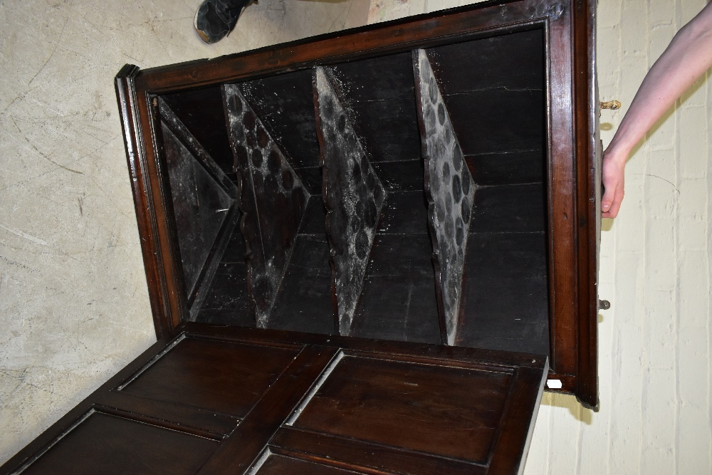 An 18th century oak corner cupboard, with inlaid detail to the single door, enclosing three shelves, - Image 3 of 3
