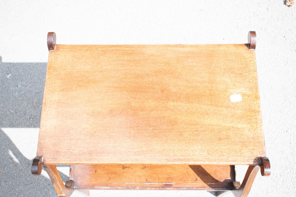 An Edwardian inlaid mahogany two tier occasional table with lyre shaped ends on tapered square legs, - Image 5 of 6