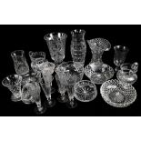 A collection of 19th century and later cut glass to include four ale glasses cut with ribbon tied