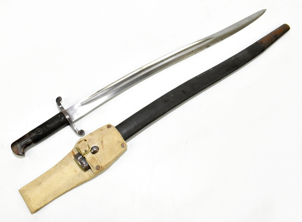 A 19th century chassepot-type military issue bayonet, the fullered blade with War Department,