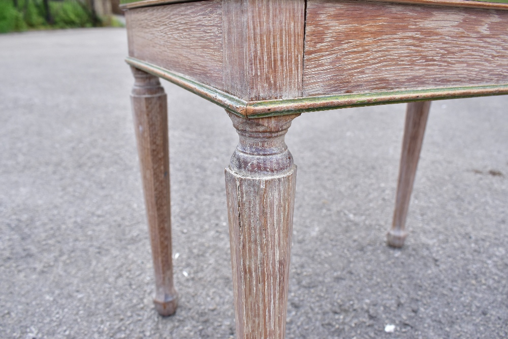 WILLIAMSON & COLE LTD; a limed oak cane seated stool, raised on octagonal column supports, length - Image 3 of 3