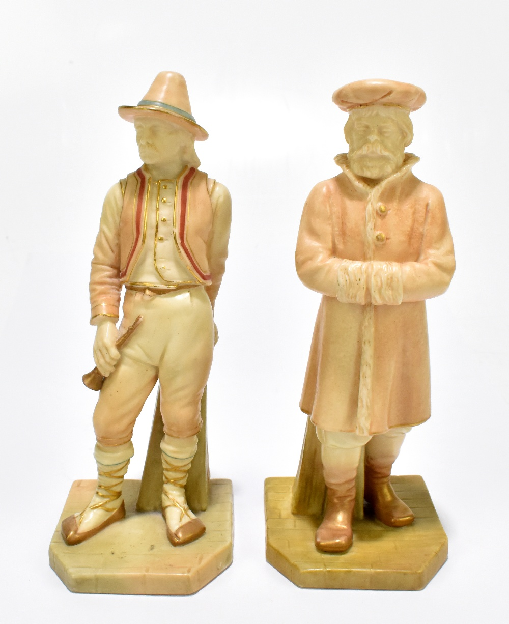 ROYAL WORCESTER; two figures emblematic of countries modelled by James Hadley comprising Russia,