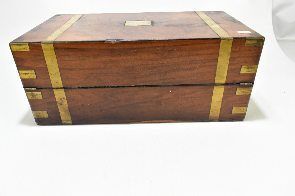 A 19th century walnut, burr walnut and brass bound writing slope, the cartouche to lid inscribed 'To - Image 5 of 7