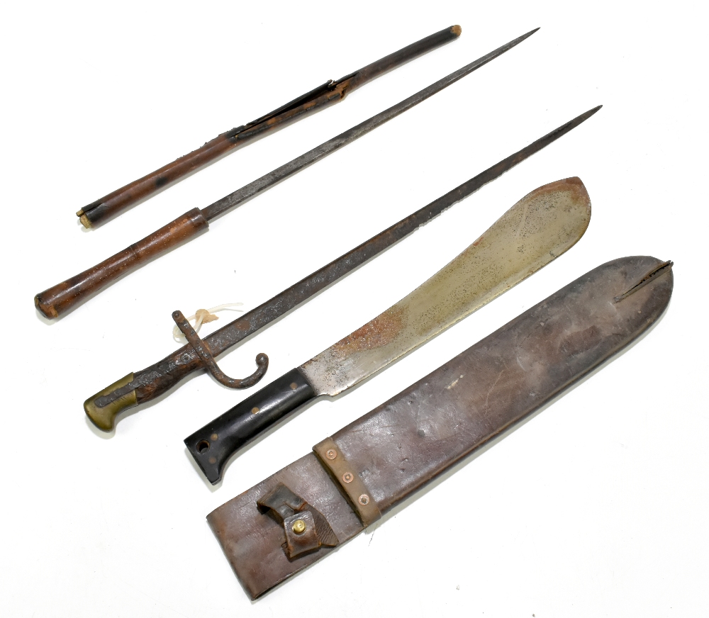 A machete, blade length 37cm, in leather scabbard, a bayonet (heavily worn) and a further blade (3).