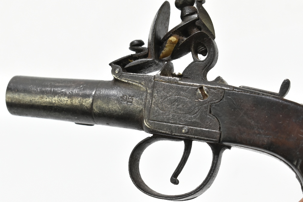 """REA; a 19th century London made flintlock muff pistol with 1.5"""" screw-off barrel, the frame - Image 3 of 7"""