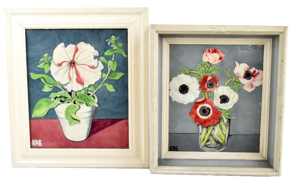 UNATTRIBUTED: two watercolours, still life, flowers in vases, each signed with initials KAB lower