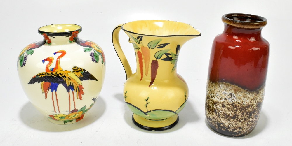 ROYAL DOULTON; a hand painted globular vase, decorated with flamingos, pattern no.307, height