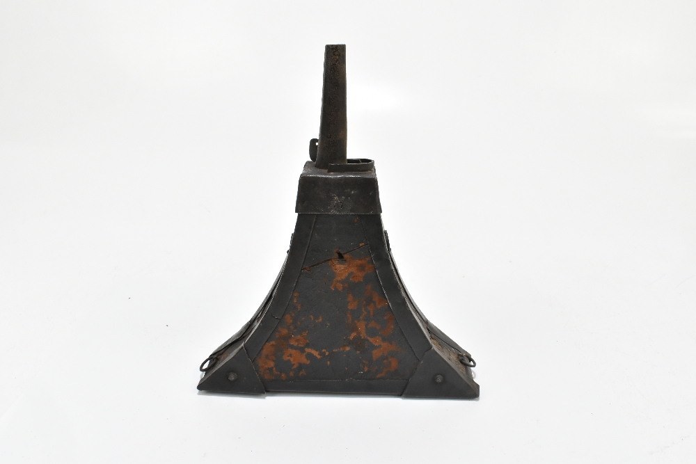 An unusual 19th century steel and leather bound powder flask with applied detail to the front, 23. - Image 3 of 6