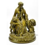 A large late 19th century Continental figure group depicting a maiden seated beside two children,