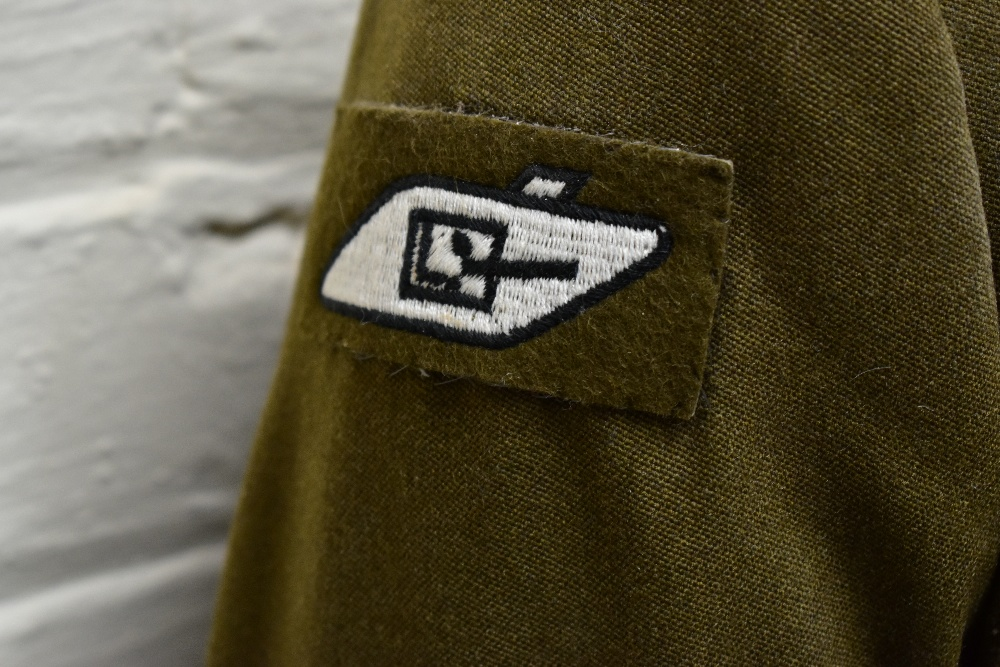 A No.2 dress military tunic with buttons and Tank Corps badges and trousers displayed on a mannequin - Image 4 of 9